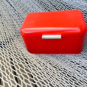 Bread container red metal